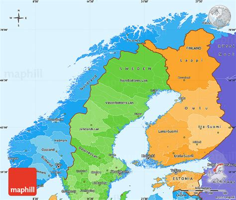 political map of scandinavia political shades simple map of