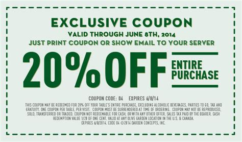 HOT! RARE 20% Off at Olive Garden Coupon! Gardeners.com Coupon Code
