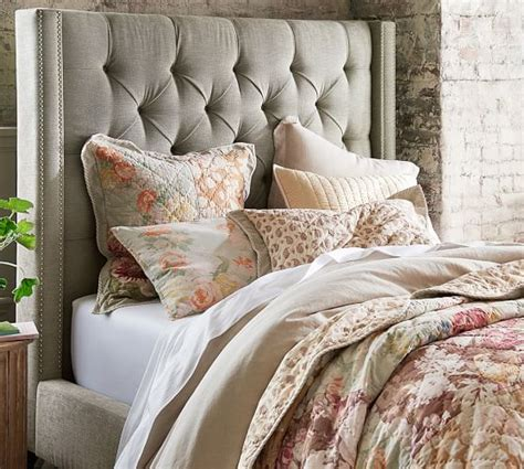 upholstered headboard pottery barn harper upholstered tufted tall bed headboard pottery barn