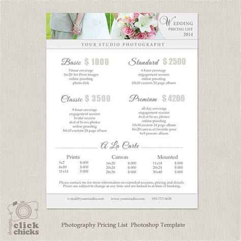 wedding photography price guide uk wedding photography package pricing list template