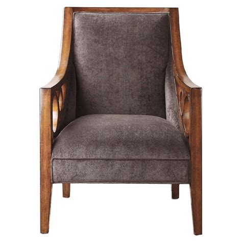 chenille armchair maclean birch accent armchair in hickory finish with plush