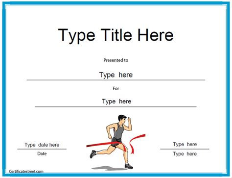 running certificate templates sports certificates running award certificate template