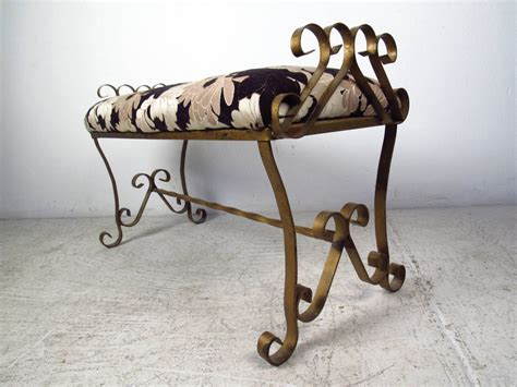 wrought iron bench for sale gilded wrought iron bench with floral upholstery for sale
