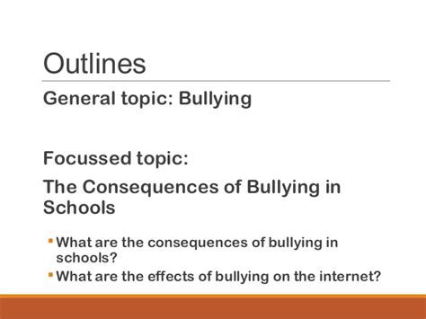 thesis statement about bullying in schools cause effect essay mass lecture 545824
