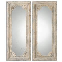 Tall vintage french mirror set distressed ivory finish