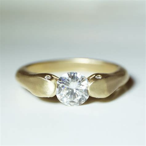 Two Headed Snake Ring by Headed Snake Ring In 10k Gold With Moissanite And
