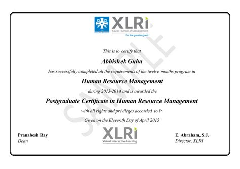 Executive Mba Eligibility Criteria In Xlri by Human Resource Management Certificate Course In India From