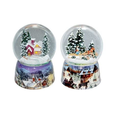 traditional christmas snowglobes traditional glass snow globe box wintry on cermamic base lights up ebay