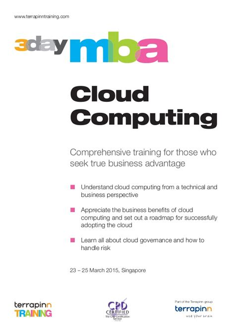 Mba Information Technology In Singapore by 3 Day Mba In Cloud Computing In Singapore 23 25 March