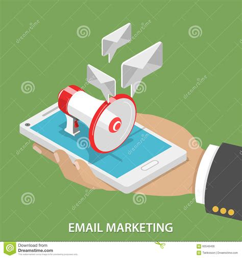 email marketing flat isometric vector concept stock