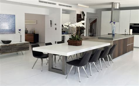 kitchen with dining table custom concrete kitchen dining tables trueform