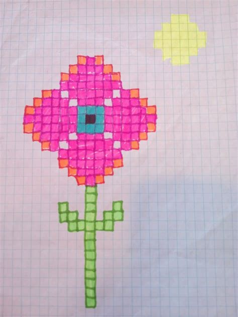 Flower With Chart Paper - deviantart more like sharpie flower on graph paper pink