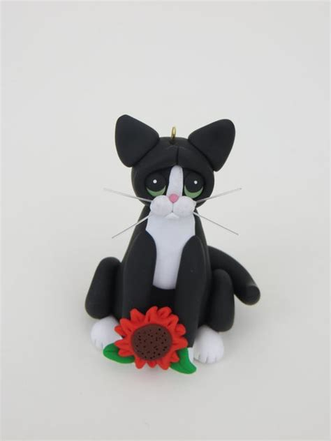 polymer clay black and white tuxedo cat christmas ornament