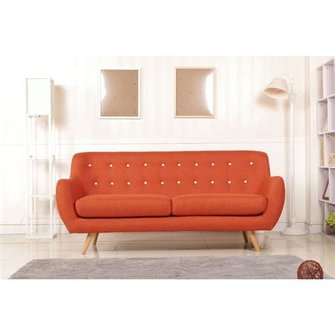 Orange Sofas For Sale by The Sixty 3 Seater Fabric Sofa Lounge In Orange Buy Sale