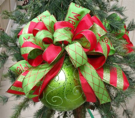 red and lime christmas ornaments bow ornament tree