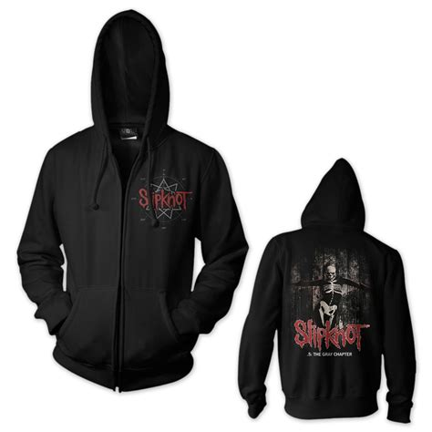Hoodie Zipper Slikpknot Hitam slipknot the gray chapter front zip hoodie