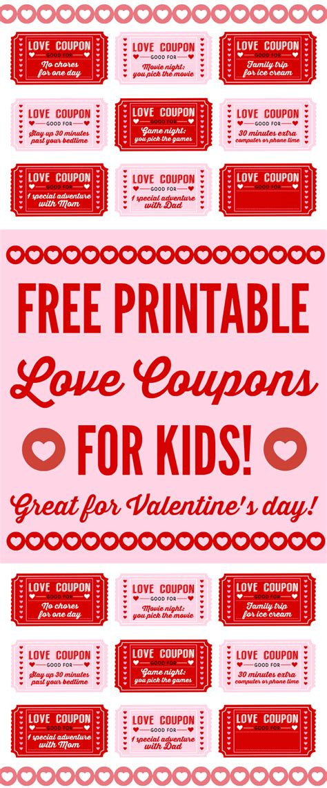 printable tickets and coupons free printables online free printable love coupons for kids on valentine s day