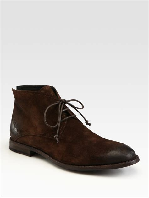 chukka boots suede to boot suede chukka boots in brown for chocolate lyst