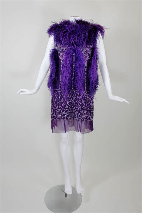 beaded feather dress reem acra purple beaded mini dress with ostrich feather