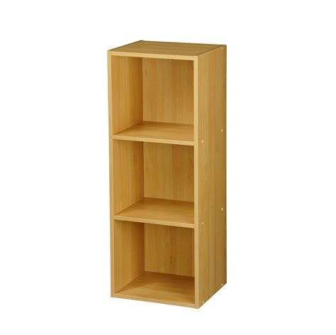 drawer display shelf unit beech 3 tier wooden bookcase shelving display storage wood