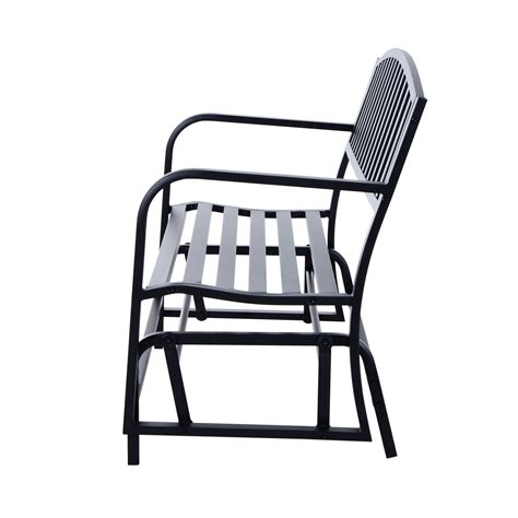 black glider bench outsunny 50 outdoor steel patio swing glider bench