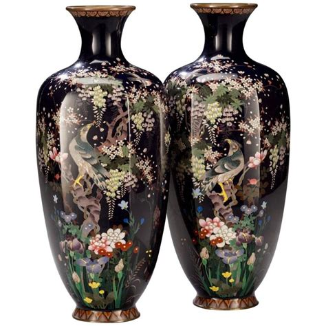 Japanese Cloisonne Vases by Pair Of Meiji Japanese Cloisonne Vases By Hayashi Chuzo