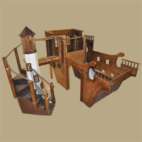 image wooden pirate ship bed wooden pirate ship playhouse w lighthouse for indoor use