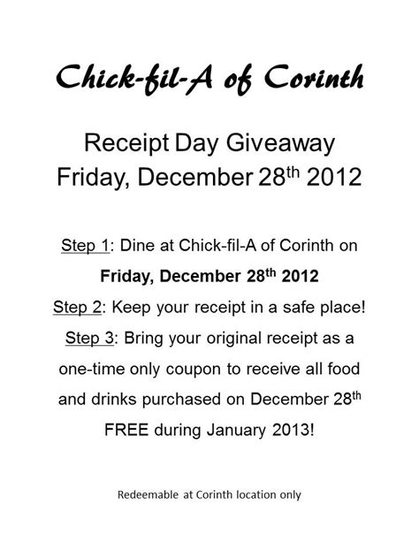 Chick Fil A Opening Giveaway - chick fil a receipt day giveaway friday december 28