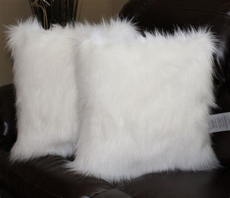 White Fur Throw Pillow by Arctic Fox White Faux Fur 18 X 18 In Throw Pillow Set By