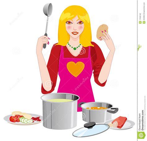 femme a la cuisine le femme dans la cuisine images libres de droits image