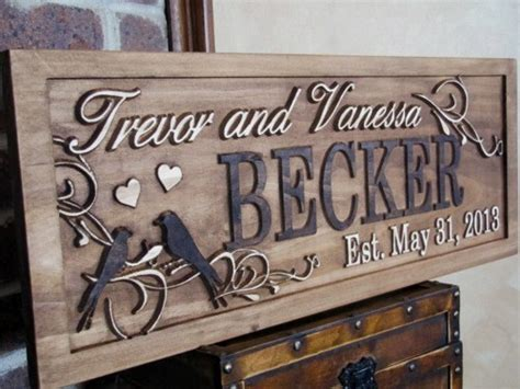 Handmade Family Name Signs - personalized family name signs custom wedding gift carved