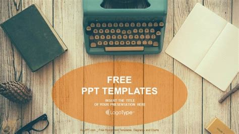 powerpoint themes journalism vintage typewriter on wooden table powerpoint templates