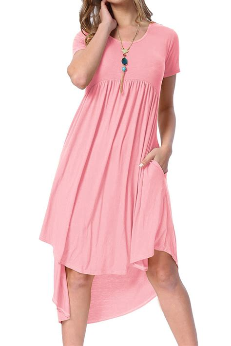 Pink Casual new in pink sleeve high low pleated casual swing dress