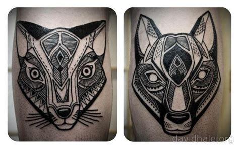 geometric tattoo hawk dog cat tattoo by david hale