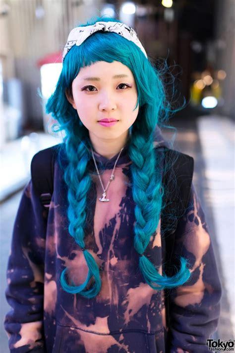 Wig Cowok Korea Harajuku 04 bleached hoodie aqua braids thigh highs dr martens in