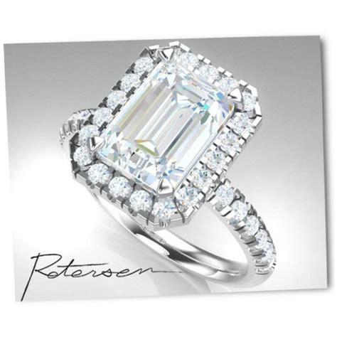 emerald cut engagement ring cubic zirconia halo