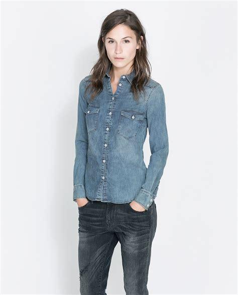 Zara Basic Shirt zara basic denim shirt in blue lyst