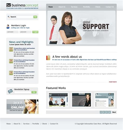 template business website tech support web template 6413 business website