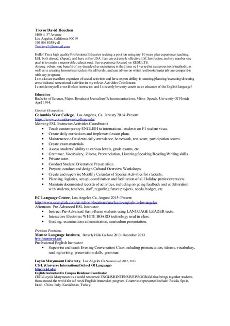 Esl Resume by Esl Resume 2015