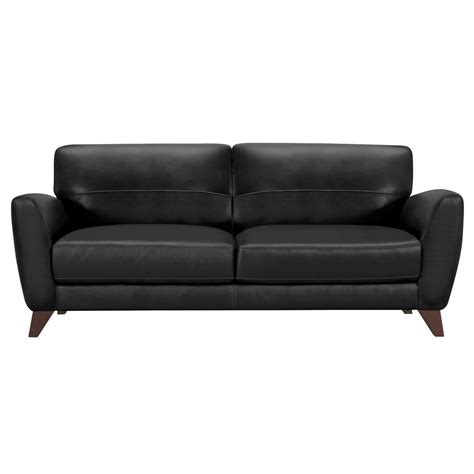 black leather and wood sofa armen living armen living genuine black leather