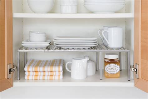 kitchen cabinet expandable shelf organizer dish cup can