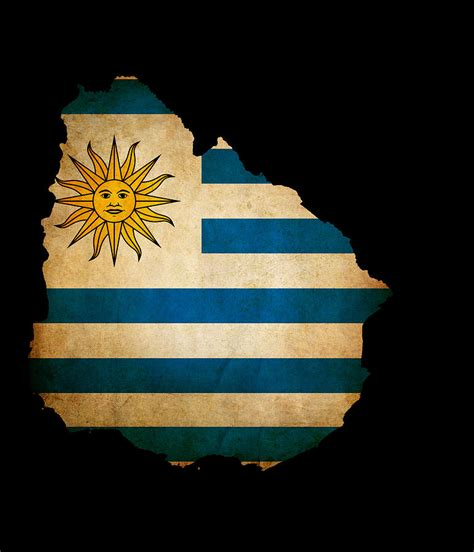 Uruguay Flag Outline by Outline Map Of Uruguay With Grunge Flag Insert Isolated On Black Photograph By Matthew Gibson