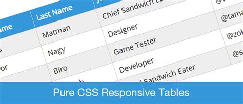 table header design css pure css responsive tables