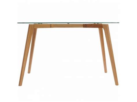 clear glass table w oak wood legs kitchen dining room