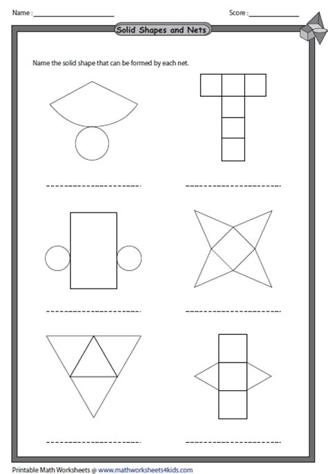 printable surface area nets 4 best images of printable worksheets 3d shapes net