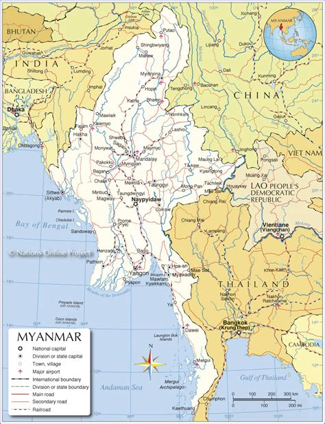 political map of myanmar small map of myanmar burma nations project