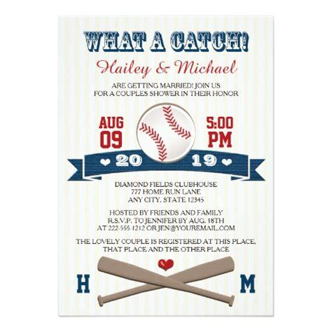 baseball themed bridal shower invitations monogrammed baseball couples wedding shower invitation card
