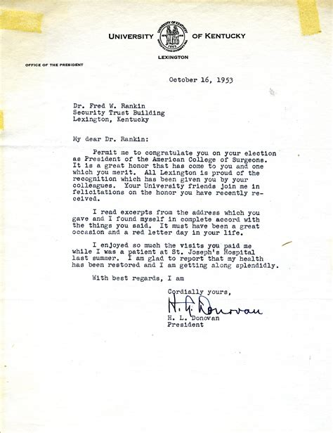 College President Letter Letter From H L Donovan President Of Kentucky Kentucky To Fred W