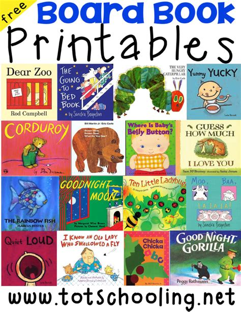 printable kindergarten books board book printables for toddlers activity board