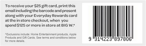 Everyday Rewards Gift Cards - spend over 125 at big w and receive a 25 voucher bricking around